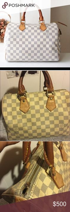 LV checkered speedy 25 louis vuitton checkered speedy 25. Price reflects authenticity. This is a A1 Quality bag. I have had for years. The zipper pull is broken, but the bag still zips and the real leather handles are patina. Louis Vuitton Bags