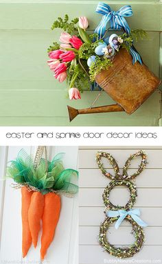 Spring and Easter Door Decor Ideas- Cute ideas for Easter wreaths, Spring wreaths, and Spring decor for your front door.