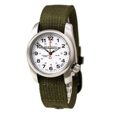 Bertucci 10013 Men's A-1S Field White Dial Olive Green Nylon Strap Watch