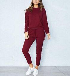 424b12de8033c Dos Piezas Ropa Deportiva Manga Larga Conjunto de chándal de Mujer suéter  Lounge 2 Piezas