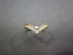 Wedding Diamond Ring in 14K Yellow Gold by honngaijewelry on Etsy