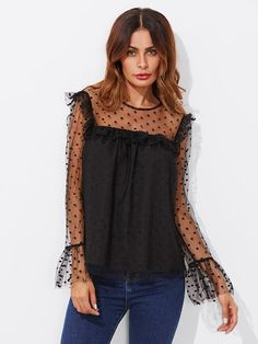 6a0beaefd Dot Mesh Overlay Frill Detail Fluted Cuff Top Inverno