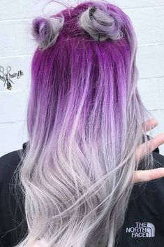 Purple hair is for women who are not afraid to express themselves. Click to discover trendy hair color ideas with purple, blue and other shades! #purplehair #purpleombre #ombrehair #haircolor