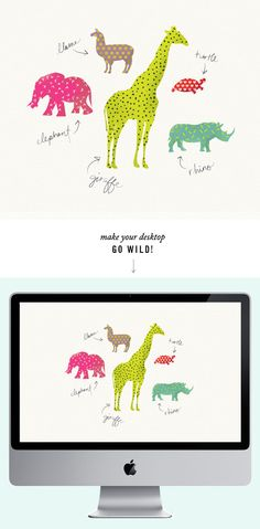 Cute Neon Polka Dot Animals. Free Desktop / Computer Wallpaper background with a positive motivational quote. #kids #kid