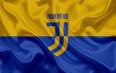 Scarica sfondi Juventus, 4k, football club giallo-blu di seta, texture, Italia, Serie A, campionato di calcio, il calcio, il nuovo logo Juventus