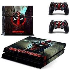 Playstation 4 + 2 Controller Aufkleber Schutzfolie Set - Deadpool (1) /PS4