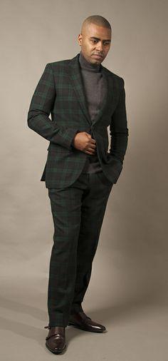 #ClubMonaco Black watch suit. #BlackBrown1826 turtleneck #HugoBoss shoes  Photography by @Sean Harrison