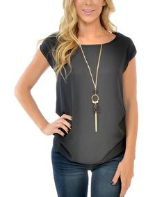 Look what I found on #zulily! Charcoal Scoop Neck Top & Necklace #zulilyfinds