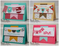 """Banner cards -- Adorable!! Hearts a Flutter stamp set and matching die set, Petite Pennants Builder Punch, 1"""" circle punch, Banner Blast stamp set and Banner punch (all Stampin' Up!)"""
