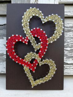 Handmade String Art Sign, Red and Gold Hearts, Perfect Valentine& Day or Annive . - Handmade String Art Sign, Red and Gold Hearts, Perfect Valentine& Day or Anniversary Gift - String Art Diy, String Art Heart, String Crafts, Diy Crafts, Handmade Art, Handmade Gifts, Handmade Items, String Art Patterns, Valentine Day Crafts