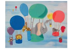 hot air ballon decorations bedroom | Hot Air Balloon. Animal art ORIGINAL painting. Nursery Childs Room ...