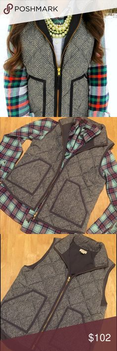 J. Crew Herringbone Vest Color: Dark grey & white. Used less than a handful of times, no flaws. Beautiful vest 😍 J. Crew Factory Jackets & Coats Vests