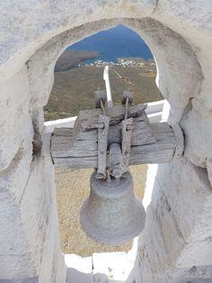 Bell of Saint George of the Mountain church , Kythera island, south of Peloponnese, Greece Create Photo Album, Santorini Villas, Myconos, Christian World, Cathedral Church, Acropolis, Saint George, Place Of Worship, Ancient Greece