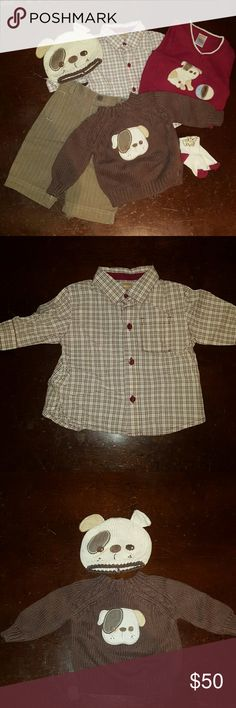 Gymboree outfit with bulldogs, 3-6 months Off-white, maroon, tan and brown plaid button down shirt. Maroon sweater vest with embroidered dog bulldog with ball.  Long sleeved brown sweater with embroidered bulldog face with three buttons on back.  Knit bulldog hat.  Herringbone brown and tan pants and bulldog socks.  100% cotton.  No visible stains or damage.  Comes from a non-smoking home. Gymboree Matching Sets