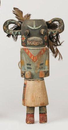 """KATCHINA NATASKA """"ogre noir """" HOPI , circa 1930 Masque cornu noir avec"""