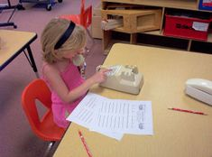 Call Center: 2 students with phones. 1 calls the other and is told a sight word. The caller writes it down & checks their spelling with their partner. Then they switch. Great idea! (Kids Count 1234)