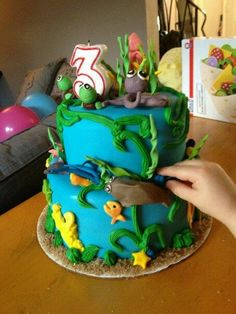 My son's sea animal themed birthday cake. Made by our friend, Paige, she's so talented!