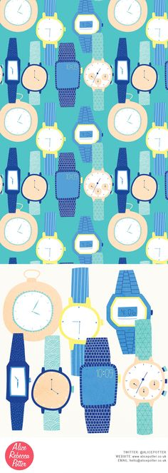 Tick Tock Watches Pattern Design and Illustration Copyright Alice Potter 2016 http://alicepotter.co.uk/