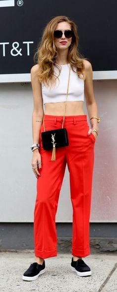 Chiara Ferragni #NYFW Spring 2015 Street Style   Red pants