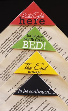 Love these ideas for book corner book marks. These are for sale, but you can easily make your own