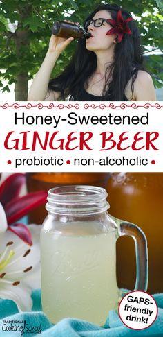 Honey-Sweetened Ginger Beer {probiotic, non-alcoholic, GAPS-friendly natural soda!} - - Honey-Sweetened Ginger Beer {probiotic, non-alcoholic, GAPS-friendly natural soda! Kombucha, Ginger Bug, Gluten Free Beer, Probiotic Drinks, Fermentation Recipes, Cocktails, Beer Recipes, Homebrew Recipes, Fast Recipes