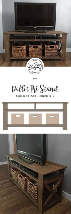 """DIY pallet tv stand! The plans include a material cut list, a list of necessary tools & hardware, assembly directions, and dimensions. The overall dimensions of the tv stand are 45""""W x 15""""L x 21""""H. DIY, Pallet Tv Stand, Pallet Furniture, Farmhouse Style, DIY Tv Stand #Pallettvstands"""