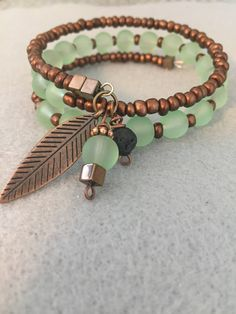 A personal favorite from my Etsy shop https://www.etsy.com/listing/563170865/diffuser-bracele-in-sea-green-and-brown