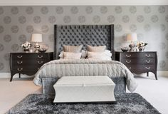Amazing Modern Bedroom Color Schemes Ideas: Amazing Modern Bedroom Color Schemes With Gray Wallpaper Gray Fur Rug Black Wooden Chest Of Drawer ~ iamsaul.com Bedroom Design Inspiration