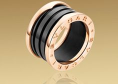 B.Zero1 4-band #Bulgari Ring in 18kt Pink Gold with Black Ceramic €900,00. Anello #Bulgari B Zero1 4 Bande Ref.AN855563 in Oro Rosa e  Ceramica Nera €900,00.