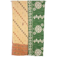 Kantha Stitch Throw - Geo Green