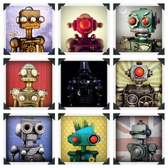 I just discovered my co-worker Ken shares my obsession with robots.  He has a few of these and we are both inspired to try to make some ourselves!