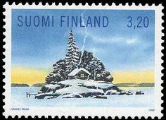 Stamp: Shack on a snowy lake island (Finland) (Christmas Mi:FI 1454 Scandinavian Countries, Nordic Style, Mail Art, Stamp Collecting, Winter Scenes, Science And Nature, Travel Posters, Postage Stamps, Things To Come