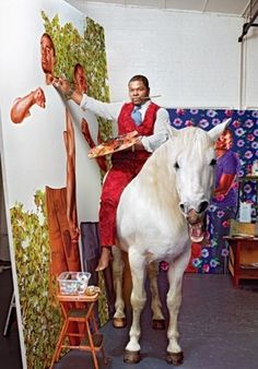 Kehinde Wiley at work... on a horse. Yep.