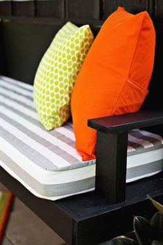 Give your back porch a quick makeover with these easy DIY outdoor cushions! With this easy sewing project, you can make custom cushions at home.