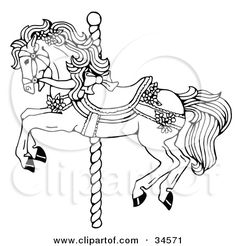 Clipart Illustration of a Carousel Horse Decorated In Bows And Flowers by C Charley-Franzwa