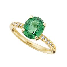 Brides.com: Green Engagement Rings. Style RP703, green tourmaline oval and diamond Twinkle Twinkle ring in 18K yellow gold, Jane Taylor  See more oval-cut engagement rings.