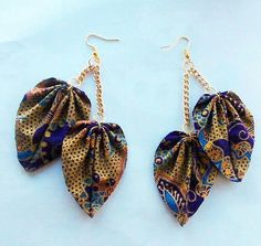 Jewelry OFF! Ladies: Check Out This 25 Stylish Ankara Necklaces and Earrings Fabric Earrings, Diy Earrings, Earrings Handmade, Handmade Jewelry, Textile Jewelry, Fabric Jewelry, Ruby Jewelry, Jewelery, African Earrings