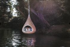 Nestrest, an innovative new hanging pod woven from supersize strands of DEDON Fiber by Daniel Pouzet and Fred Frety, two of Paris's most intriguing design talents. Outdoor Lounge, Outdoor Living, Outdoor Decor, Nest Furniture, Accent Furniture, Furniture Ideas, Design Tape, Baseball Wall, Outdoors