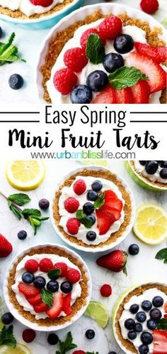 Easy & Delicious Mini Fruit Tarts are perfect for entertaining! Recipe on UrbanBlissLife.com