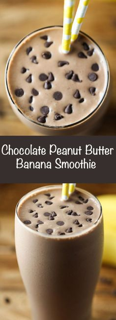 A filling smoothie with banana, peanut butter and cocoa.