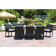 Dijon Modern Patio Dining Set 9 Piece for $3,450 #OutdoorPatioDiningSets #OutdoorFurniture #CozyDays