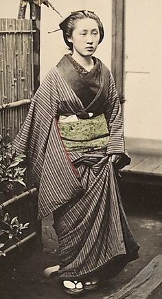 Woman.  Hand-colored photo,  1870's, Japan, by photographer Shinichi Suzuki.