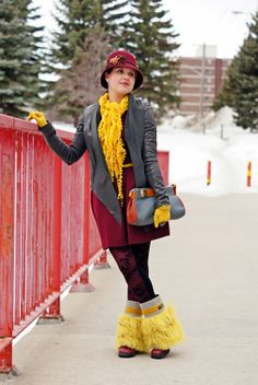 Winnipeg Canadian Fashion Blog, Julie Pedersen yellow lambswool curly wool fur suede leather spats, dconstruct eco-friendly recycled bangle bracelet, Danier leather draped jacket, Vintage gloves, Pretty Polly tights