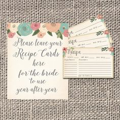 Hey, I found this really awesome Etsy listing at https://www.etsy.com/listing/223926373/recipe-card-bridal-shower-recipe-card