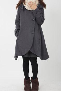 Dark gray cloak wool coat Hooded Cape women Winter wool by MaLieb, $139.00
