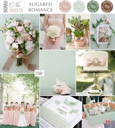 Pink and mint wedding inspiration.  Magnolia Rouge Board#205: Sugared Romance