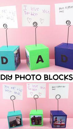Único y Creativo How to Make DIY Photo Blocks These simple DIY Photo Blocks make a perfect gift . How to Make DIY Photo Blocks These simp. Diy Father's Day Crafts, Father's Day Diy, Fathers Day Crafts, Crafts For Kids, Good Fathers Day Gifts, Birthday Gifts For Dad, Kids Diy, Wood Crafts, Birthday Ideas