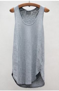 Summer to Fall, basic grey slouchy tank, great for layering or wearing solo with a pretty scarf and jewelry