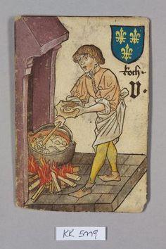 Spielkarte, Frankreich, Koch (Fünf), aus dem sog. Hofämterspiel  Wien (?) um 1455
