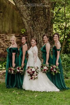 Kennedy Blue's velvet bridesmaid dresses in the color 'Emerald' is a unique addition to garden weddings. The dresses featured are Keely, Mila, Skylar, Evelyn in the color 'Emerald'. Available in 100+ styles, 50+ colors, sizes 00-32, and easy to mix & match with other styles. // green bridesmaid dress // unique velvet bridesmaid dress // velvet green dress // garden wedding // elegant velvet bridesmaid dress // deep green wedding // mix and match bridal party // mismatched bridesmaid dresses Velvet Bridesmaid Dresses, Affordable Bridesmaid Dresses, Mismatched Bridesmaid Dresses, Unique Dresses, Wedding Dresses, Party Looks, Green Wedding, Green Dress, Elegant Wedding